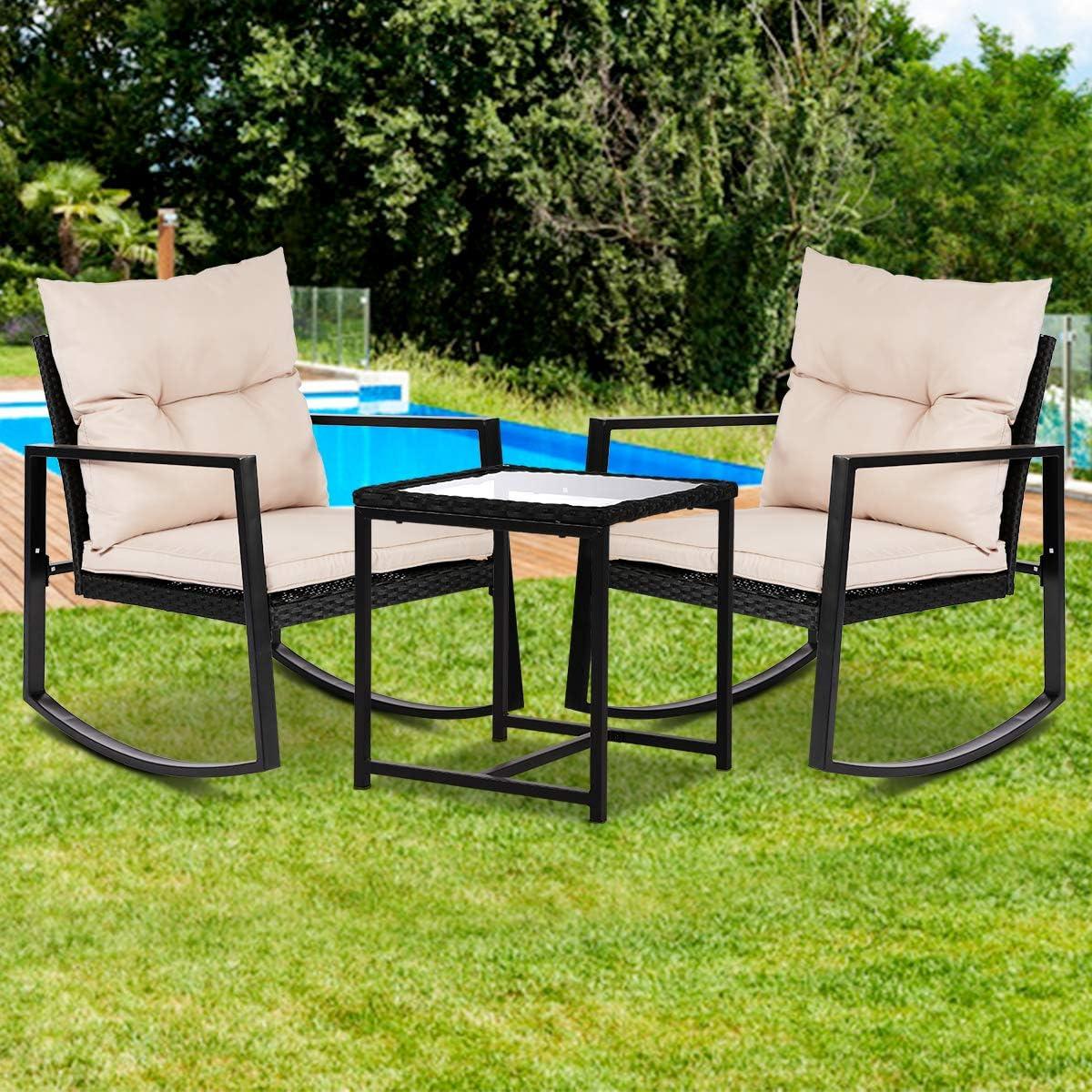Outdoor 3Piece Max 75% OFF Bistro Set Rocking C New color Rattan Chair Patio