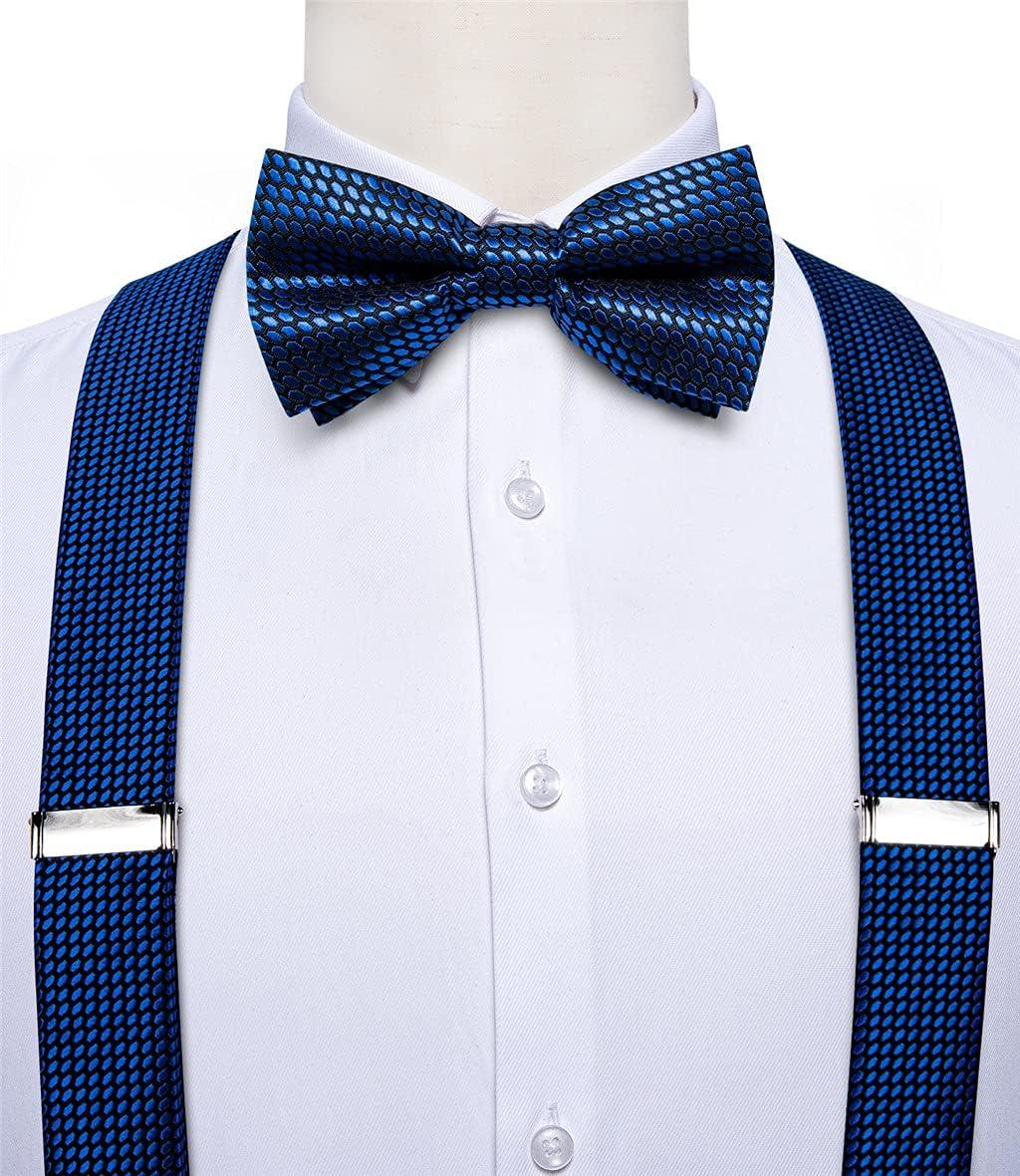 HLDETH Royal Blue Mens Suspenders Bow Tie Set Elastic Silk Leather 6 Clips Braces Y-Back Suspender Butterfly Pocket Square Set (Color : A, Size : Adjustable)