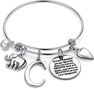 Initial Charm Bracelet Elephant Gifts - Engraved 26 Alphabet Inspirational Quote Elephant Charm Bracelet Jewelry Gifts for...