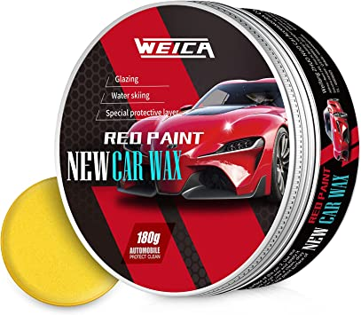 WEICA Car Wax Red Solid for Red Cars, Carnauba Car Wax Kit Cleaner, Car Waxing Scratch Resistance Auto Ceramics Coating 180g with Free Waxing Sponge and Towel-Red: image