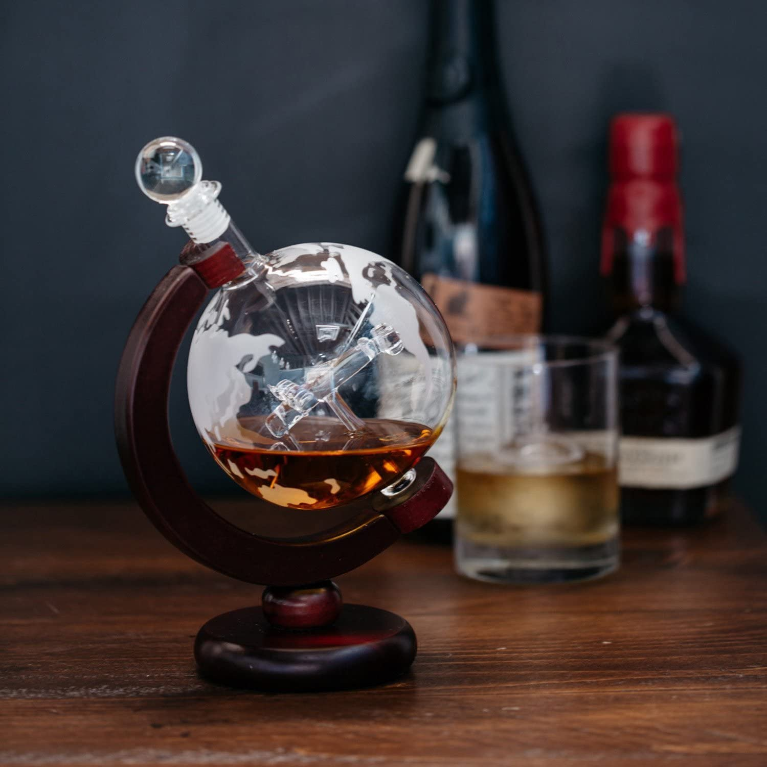 Amazon Com Large 50 Oz Handmade Vodka Or Liquor Etched Globe Decanter Set With Wooden Stand And Bar Funnel Wood Stand Plane Liquor Decanters