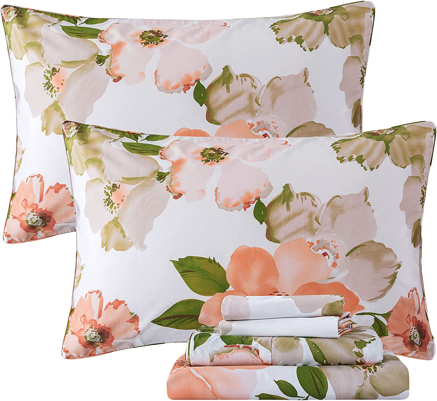 FADFAY ! Super beauty product restock quality top! Sheets Set King Elegant Tampa Mall Floral Shabby Watercolor Bedding