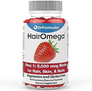 DrFormulas Kosher Biotin Gummies 5000 mcg for Hair Growth, Nail and Skin by HairOmega | 45 Day Chewable Gummy