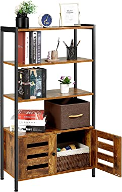 Kealive Bookshelf with Cabinet Large Storage Display Shelves Industrial Cabinet, Free Standing Bookcase 4 Shelves and 2 Shutter Doors for Home Office, Living Room, Bedroom, Rustic Brown