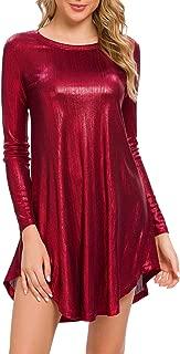 MSBASIC Womens Long Sleeve Glitter Loose Swing Party Dress