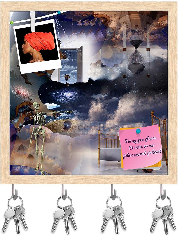Artzfolio Fantasy Sleep Composition D2 Key Holder Hooks   Notice Pin Board   Natural Brown Frame 16 X 16.6Inch