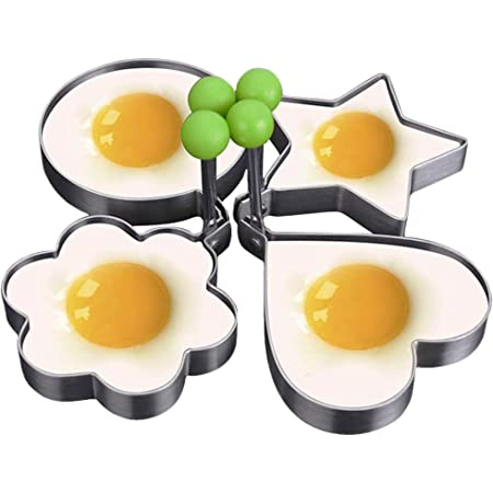 4-pack, Egg Rings, Stainless Steel Pancake Mold Set, Ring Molds for Cooking,Egg Cooker, Eggs Maker Mold, Make the Perfect Pancake Breakfast Sandwiches,A Flat Frying Pan is Required to Use This Product
