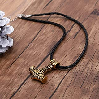 Yean Thor`s Hammer Mjolnir Pendant Necklace Braided Leather Necklace Viking Scandinavian Necklaces Jewelry Cahin for Men (Antique Gold)