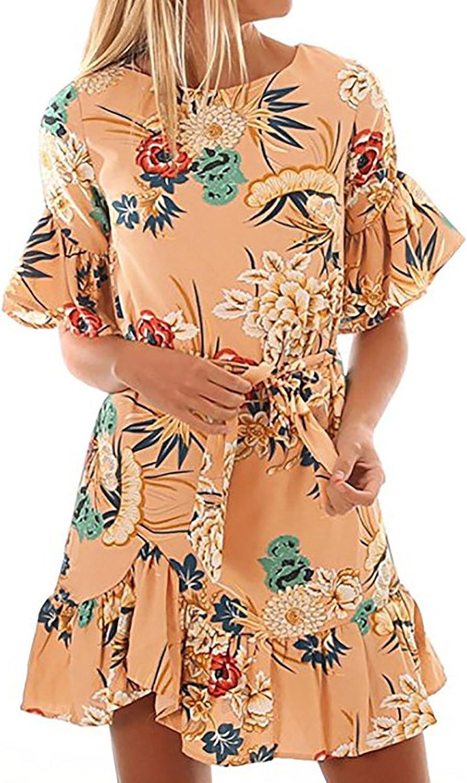Alelly Women's Summer Floral Print Short sleeve Ruffle Hem Mini Dress with belt