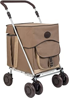 Sholley Deluxe Shopping Trolley, Grocery Cart Utility Cart 4 Wheels Light and Easy to Push, Foldable, Height & Angle Adjustable Handle, Strong & Stable Aids Walking, Mens & Ladies Design (Hurlingham)