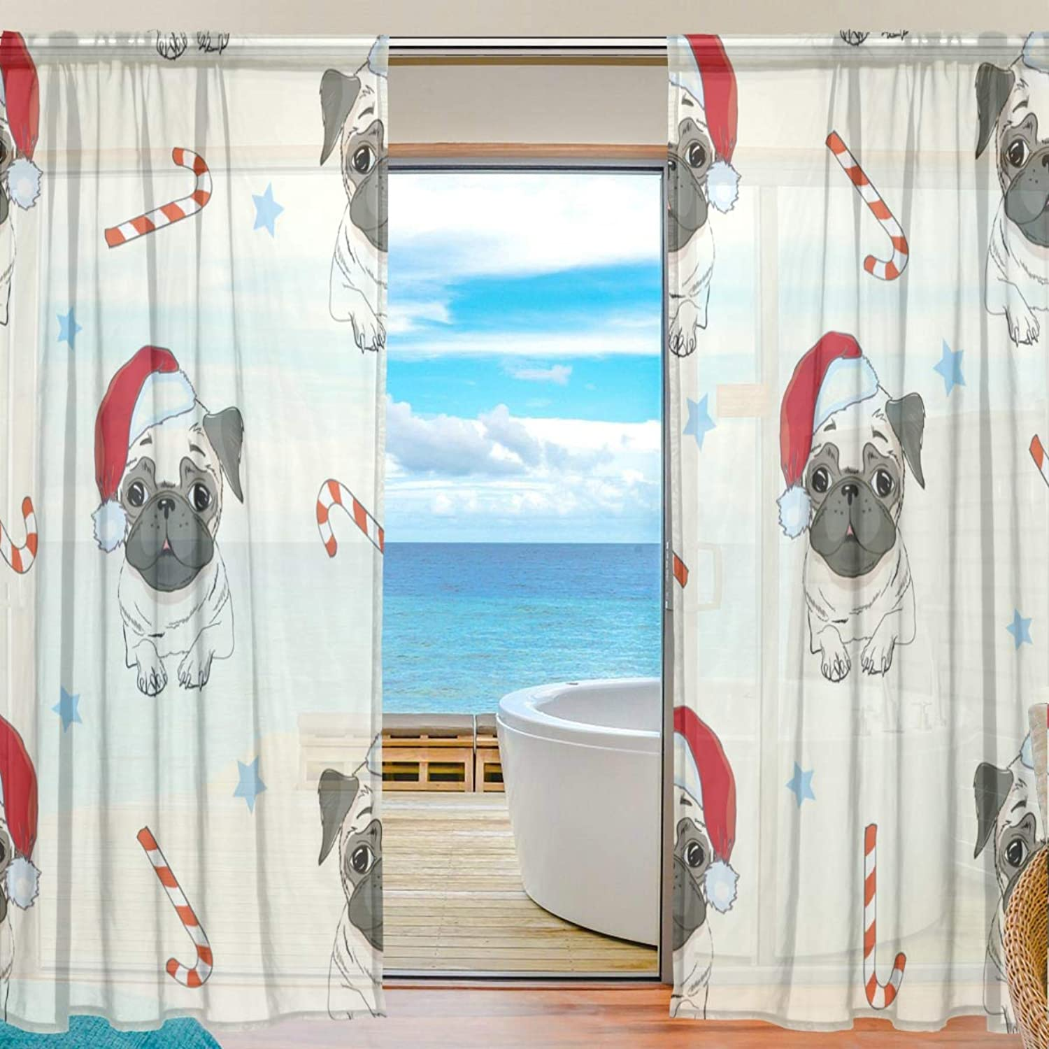 Christmas Pugs 2 Pieces Curtain Panel 55 x 78 inches for Bedroom Living Room