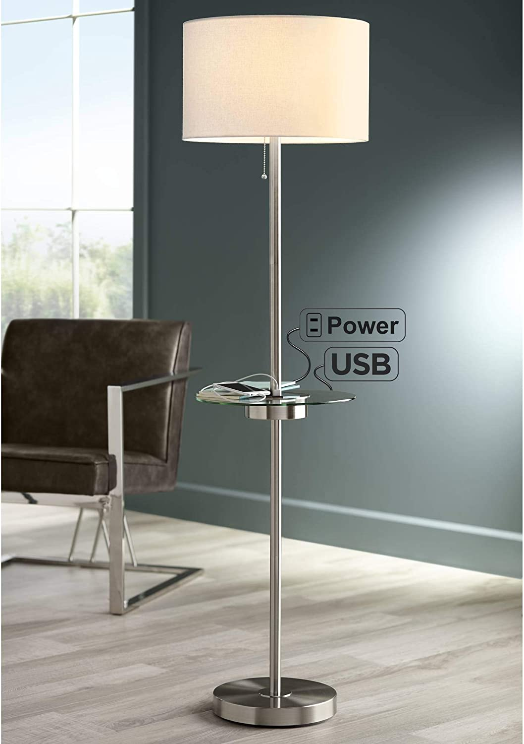 Caper Modern Contemporary Floor Lamp with Same day New mail order shipping USB Tray Power and AC