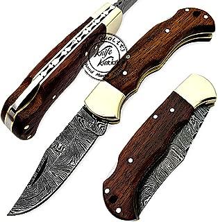 Beautiful Rose Wood 6.5'' 100% Handmade Damascus Steel Folding Pocket Knife with Back Lock 100% Prime Quality