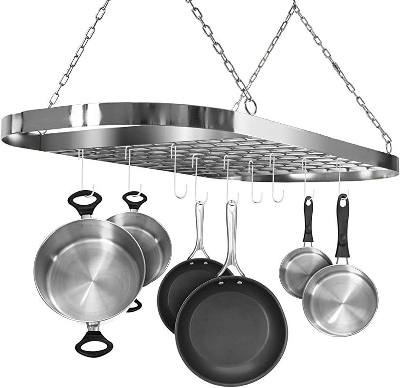 Sorbus Pot And Pan Rack For Ceiling With Hooks Decorative Oval Mounted Storage Rack Multi Purpose Organizer For Home Restaurant Kitchen Cookware Utensils Books Household Hanging Chrome