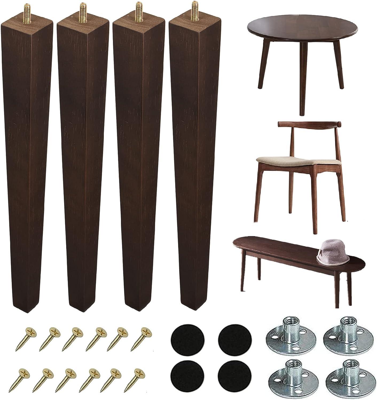 WOWKIA 4Pcs Wooden Furniture Legs Hardware Charlotte Mall trend rank 16 inch Table Vintage