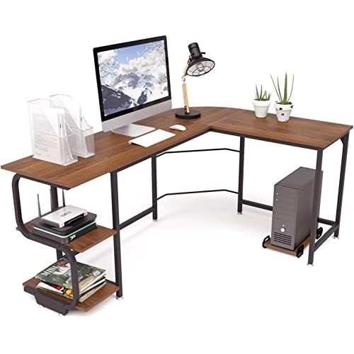 Teraves Reversible L Shaped Desk With Shelves Round Corner Computer Desk Gaming Table Workstation For Home Office Kitchen Dining