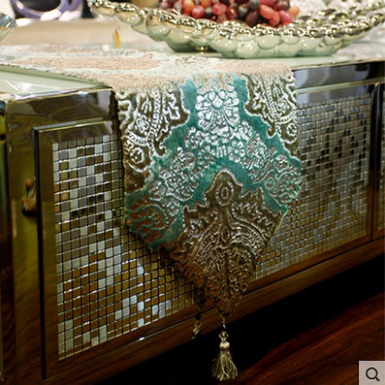 QiangZi Table courirner Nappe Bureau Cuisine Salle à Manger Mariage Parcravate Home Decor Nappe Nappe Argent Floral Motif Broderie Tissu (30  200CM) ( Couleur   Vert , taille   30200cm )