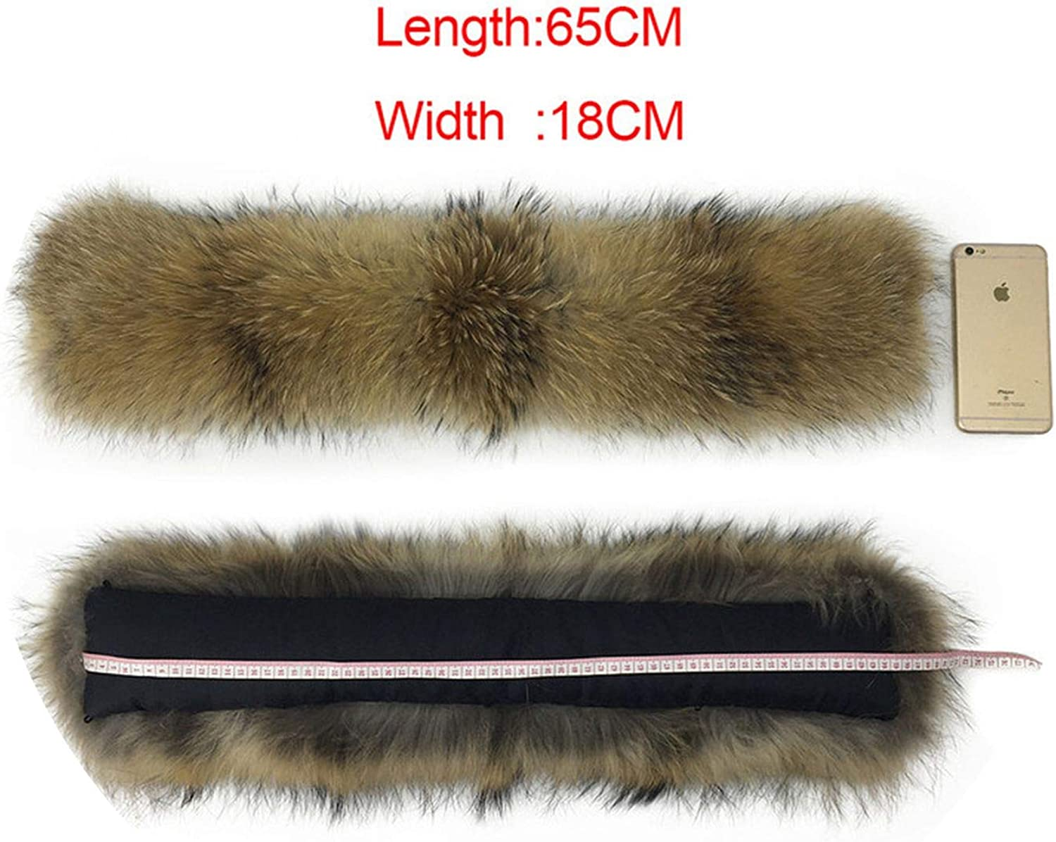 65cm 75cm 80cm 85cn 90cm 100% Natural Real Raccoon Collar Women Scarf Winter Coat Neck Cap Long Warm Genuine Real Sarf,65CM X 18CM