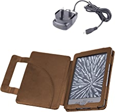 DURAGADGET Brown Genuine Leather Book Style Case/Cover With Magnetic Clasp For Amazon's New Kindle (Latest Generation, October 2011) + Mains Charger
