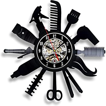 Amazon Com Hairdresser Vinyl Record Wall Clock Beauty Studio Salon Hair Stylist Gifts Idea For Woman Or Man Hairdressing Design Professional Equipment Wall Decor Poster Decorations Artwork Vintage Black Home