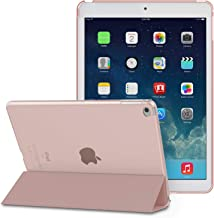 MoKo Funda para iPad Air - Ultra Slim Lightweight Función de Soporte Protectora Plegable Smart Cover Trasera Transparente Durable - Rosa Dorada (No es Compatible con el iPad Air 2)