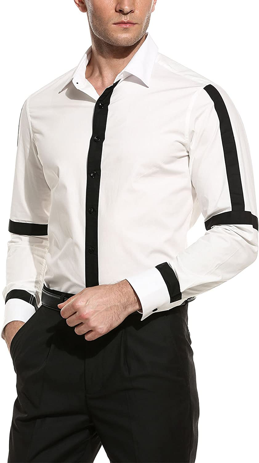 COOFANDY Award-winning store Men's Casual Don't miss the campaign Long Sleeve Button Shirt Stand Collar Down
