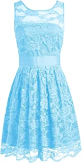 TalinaDress Women Short Lace Sheer Neck Sleeveless Bridesmaid Dresses Prom Gowns E240LF