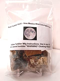 "Rock Tumbler Gem Refill Kit New Mexico Blue ""Luna"" Agate Rough 240ml"