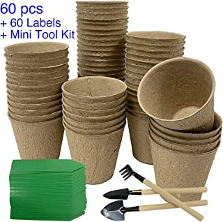 Peat Pots, Plantable Pots for Starting Seeds Herbs Vegetables Seedlings, Organic Biodegradable Eco Friendly, 60 Pots with ...