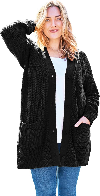 Woman Within Women's Plus Size Long-Sleeve Shaker Cardigan Sweater