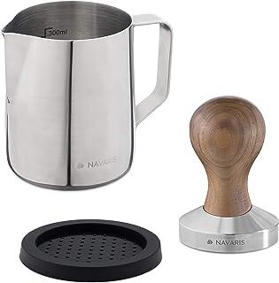 Navaris Tamper Café Expresso 51 mm - Tasseur Presse à Café en INOX avec Coussin Silicone et Pot à Lait 350 ML - Accessoire...