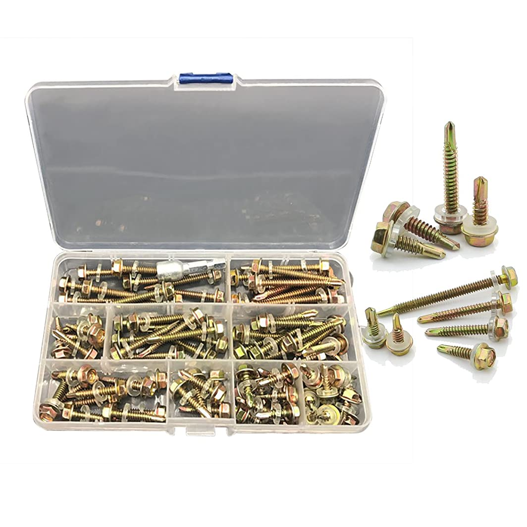 NUZAMAS Box of 80 Tek Roofing Screws Hex Head With Sealing Washer For Fixing To Timber 16mm 20mm 25mm 30mm 35mm 40mm 45mm 50mm Free Drive Bit