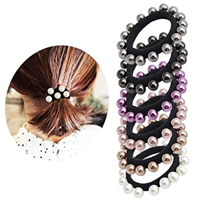 Pearl Elastic Hair Bands Cotton Stretch Hair Ti...
