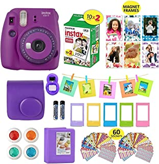 Fujifilm Instax Mini 9 Camera Purple + 20 Instant Fuji-Film Sheets, Instant Camera Case + 14 PC Instax Accessories Bundle, Fuji Mini 9 Kit Gift, 2 Albums, Lenses, 5 Desk Frames+ 60 Stickers