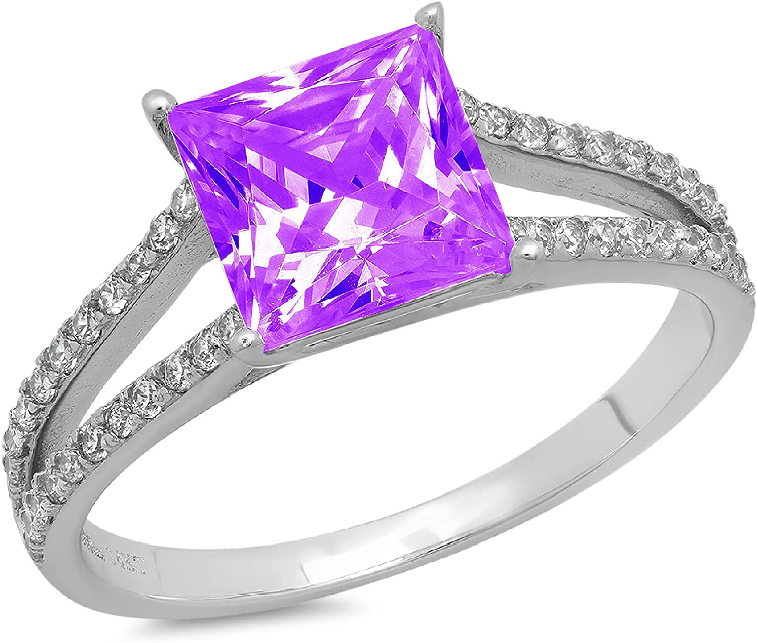 2.36ct Princess Cut Solitaire with Accent split shank Natural Purple Amethyst Gem Stone Ideal VVS1 Engagement Promise Statement Anniversary Bridal Wedding ring 14k White Gold