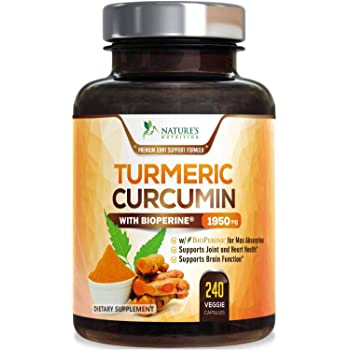 Turmeric Curcumin with BioPerine 95% Curcuminoids 1950mg with Black Pepper for Best Absorption, Made in USA, Natural Immune Support, Turmeric Supplement Pills by Natures Nutrition - 240 Capsules