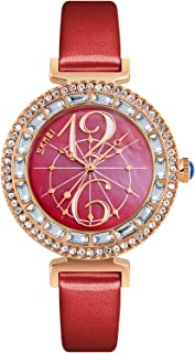 PASOY Women Girls Elegant Watch Inlaid Rhinestone Shell Dial Gold Case Red leather Band Quartz Wristwatch