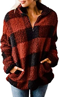 Women's Plaid Long Sleeve Zipper Sherpa Fleece Sweatshirt...
