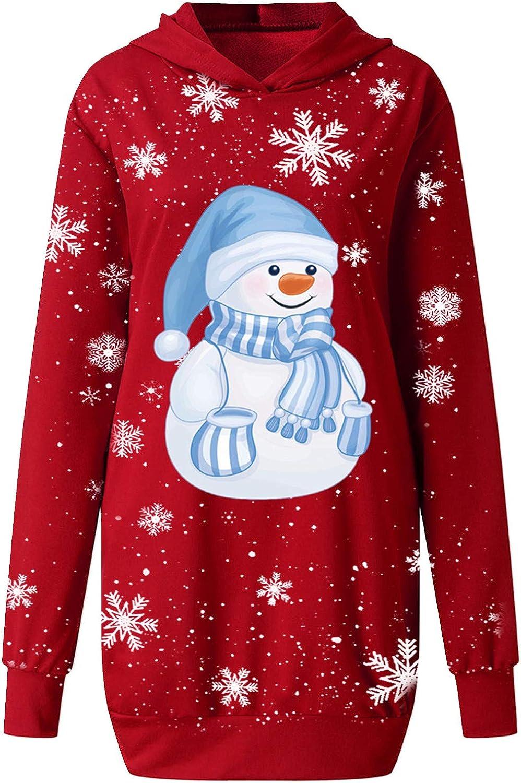 Frauen Weihnachtskleid Weihnachten Print Langarm Minikleid Sweatshirts Partykleid RundhalsKleider Lange /Ärmel Kleider SOMESUN Kleid Damen Minikleid