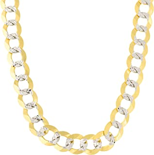 14k Yellow and White Gold Two Tone Diamond Cut Curb Chain Necklace