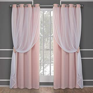 Exclusive Home Curtains Catarina Layered Solid Blackout and Sheer Window Curtain Panel Pair with Grommet Top, 52x84, Rose ...