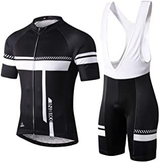 INBIKE Men's Cycling Jersey Set Moisture Wicking Breathable Quick-Dry Full Zip Short Sleeve Bike Shirt + 3D Padded Sports ...
