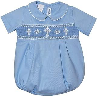 Smocked Crosses Boys Light Blue Short Sleeve Bubble