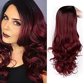 AISI HAIR Ombre Wig Black to Red Ombre Wig Long Hair Cosplay Wigs for Women 2 Tone Heat Resistant Synthetic Hair Natural Looking Full Wigs
