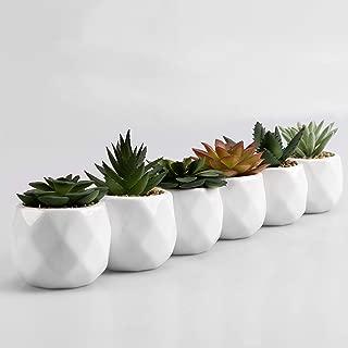 MyGift Mini Faux Succulent Plants in Geometric Ceramic Planter Pots, Set of 6
