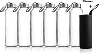Zuzoro - 6-Pack -18oz Juice & Beverage Glass Water Bottles - for Juicing or Kombucha Storage - Includes Nylon Bottle Protection Sleeves No-Leak Caps w/Carrying Loops. - Clear Reusable bottles