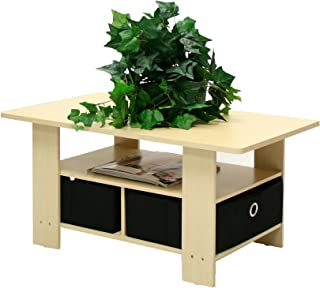 Furinno Coffee Table with Bins, Steam Beech/Black