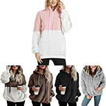 Womens Winter Tops Quarter Zip Fuzzy Sherpa Fleece Sweatshirts Pullover with Pockets Oversized Hoodies for Women