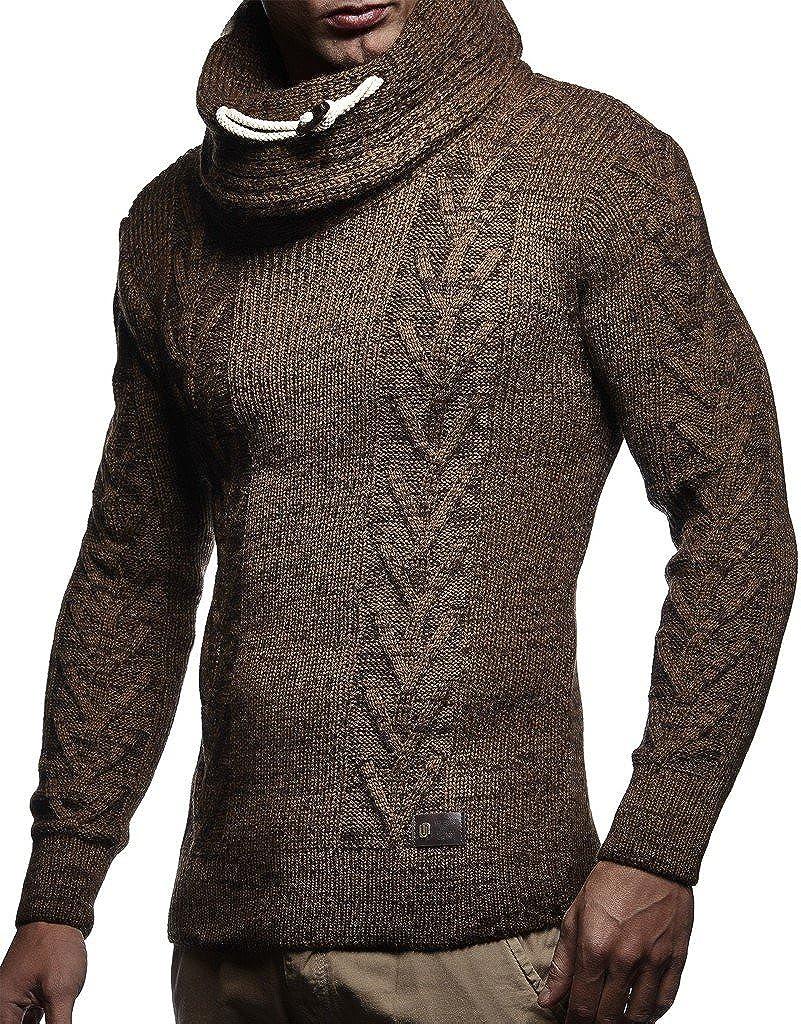 Leif Nelson LN7135 Men's Knitted Turtleneck Pullover