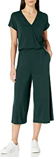 Amazon Essentials Women's Short-Sleeve Surplice Cropped Jumpsuit